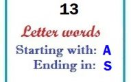 Thirteen letter words starting with A and ending in S