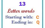 Thirteen letter words starting with C and ending in Q