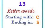 Thirteen letter words starting with C and ending in S