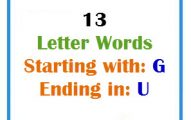 Thirteen letter words starting with G and ending in U