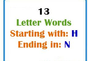 Thirteen letter words starting with H and ending in N