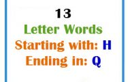 Thirteen letter words starting with H and ending in Q