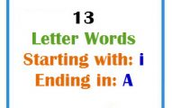 Thirteen letter words starting with I and ending in A