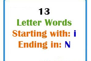 Thirteen letter words starting with I and ending in N