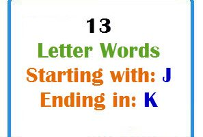 Thirteen letter words starting with J and ending in K