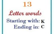 Thirteen letter words starting with K and ending in C