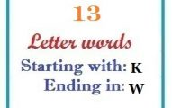 Thirteen letter words starting with K and ending in W