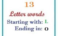 Thirteen letter words starting with L and ending in O