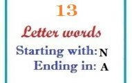 Thirteen letter words starting with N and ending in A