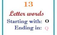 Thirteen letter words starting with O and ending in Q