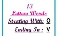 Thirteen letter words starting with O and ending in V
