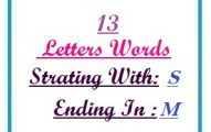 Thirteen letter words starting with S and ending in M