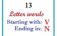 Thirteen letter words starting with V and ending in N