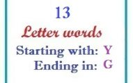 Thirteen letter words starting with Y and ending in G