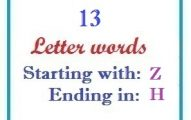 Thirteen letter words starting with Z and ending in H