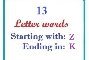 Thirteen letter words starting with Z and ending in K