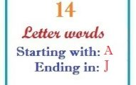 Fourteen letter words starting with A and ending in J