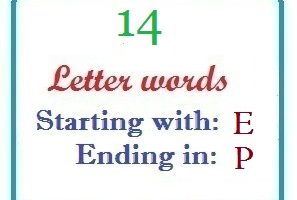 Fourteen letter words starting with E and ending in P