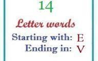 Fourteen letter words starting with E and ending in V