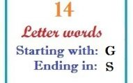 Fourteen letter words starting with G and ending in S
