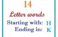 Fourteen letter words starting with H and ending in K