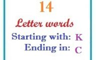 Fourteen letter words starting with K and ending in C