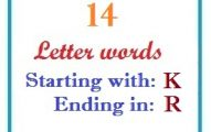 Fourteen letter words starting with K and ending in R