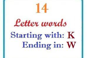 Fourteen letter words starting with K and ending in W