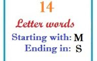 Fourteen letter words starting with M and ending in S