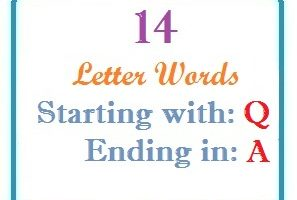Fourteen letter words starting with Q and ending in A