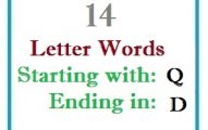 Fourteen letter words starting with Q and ending in D