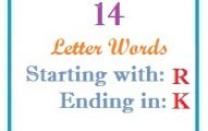 Fourteen letter words starting with R and ending in K