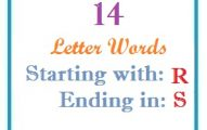 Fourteen letter words starting with R and ending in S