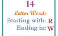 Fourteen letter words starting with R and ending in W