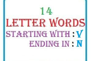 Fourteen letter words starting with V and ending in N